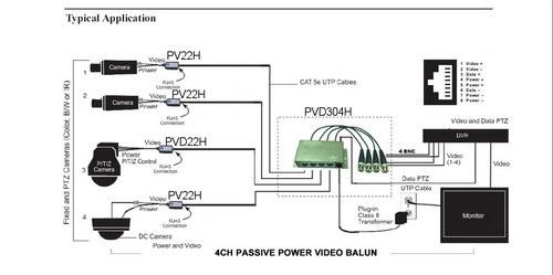 4CH CCTV Cat5 Power Video Data Combiner HD Balun (PVD304H
