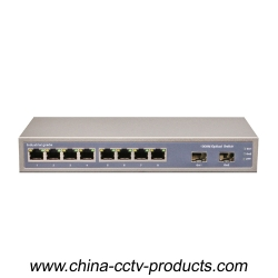 10 Port Enhanced Full Gigabit Fiber POE Switch with 8 Port PoE 2 Port S (POE0802SFP-3)