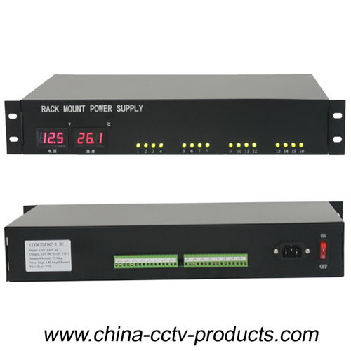 16 Channels 12V LED Display CCTV Rackmount Power Supply (12VDC10A16P-1.5U)