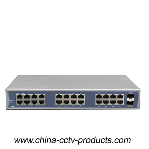 1000Mbps 2 Port SFP + 24 Port RJ45 Backbone Ethernet Switch