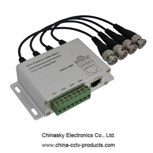 4 Channel BNC to RJ45 / CAT-5 Video Transceiver , Passive CCTV UTP Video Balun VB204A