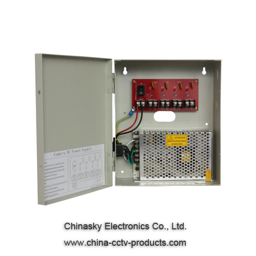 CE CCTV Power Supplies , Wall Mount Power Supply Box with 12VDC5A4P