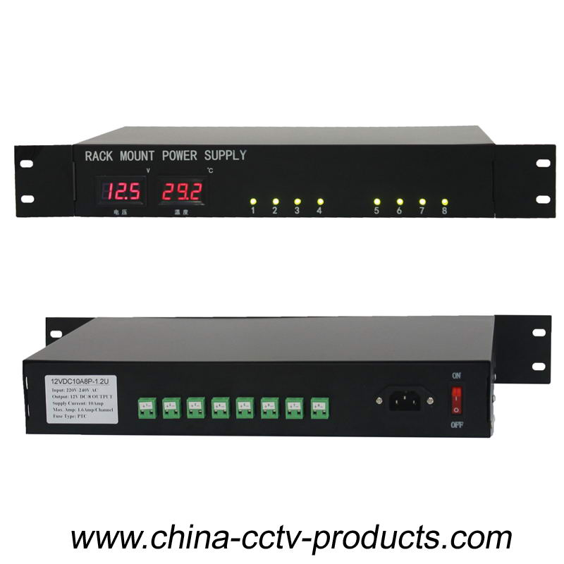8 Channels 24V AC CCTV Rack Mount Power Supply (24VAC20A8P-1.2U)