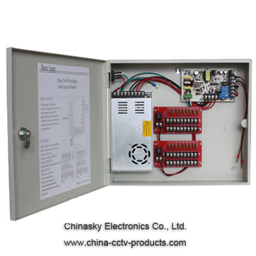 12VDC 25A CCTV Power Supplies with 18 Channel for Access Control System, 12VDC25A18P/B