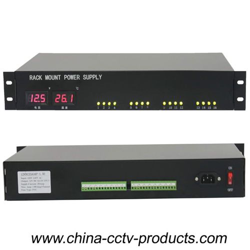 16 Channels 25 Amp LED Display CCTV Rackmount Power Supply (12VDC25A16P-1.5U)