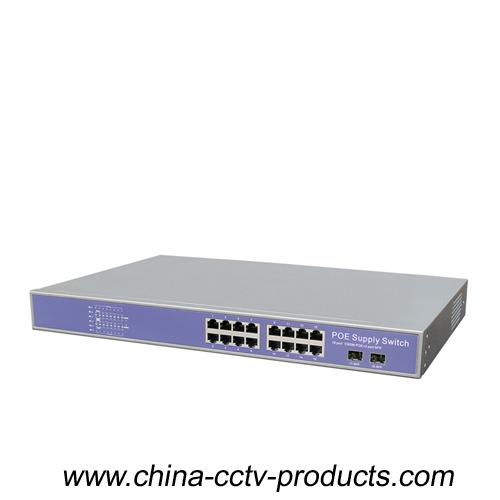 16 Gigabit POE + 2 SFP CCTV Ethernet POE Switch (POE1602SFP-3)  POE1602SFP-3 is applied to POE IPC c