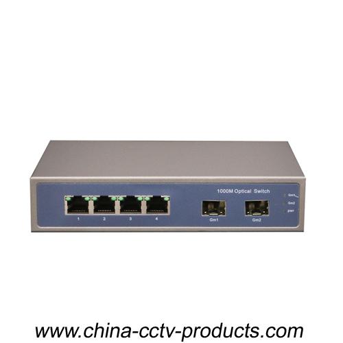 1000Mbps 2 Port SFP + 4 Port RJ45 Enhanced Gigabit Switch