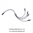Cameras Male CCTV Power Connector , 1 Way to 4 Way DC Power Splitter Cable